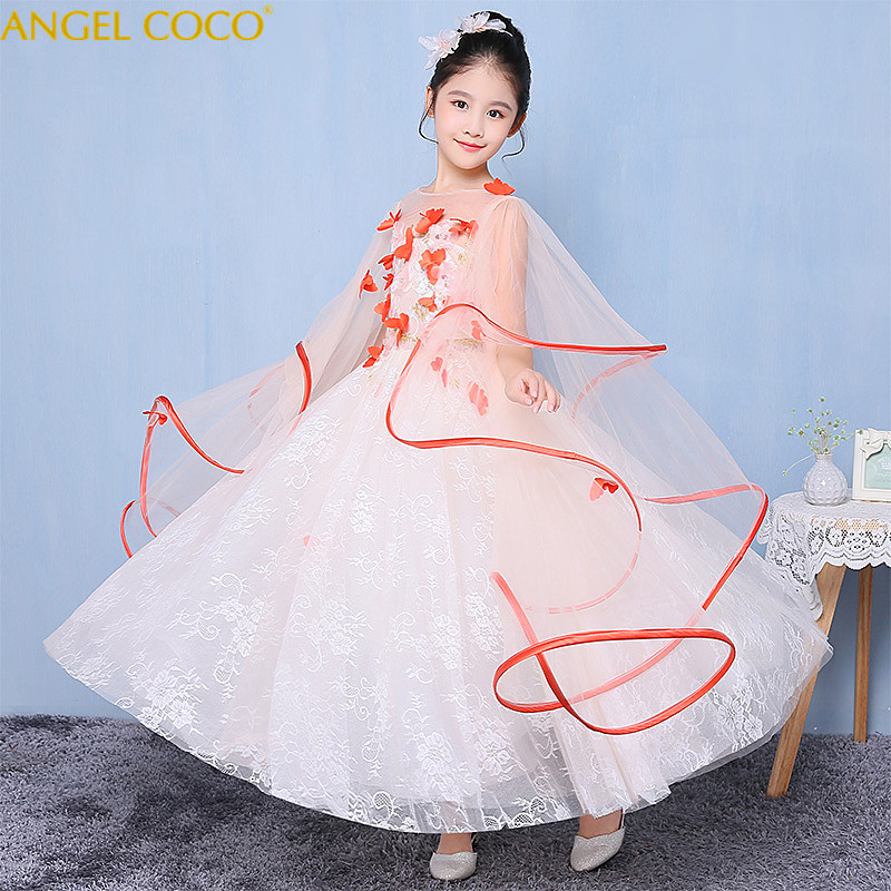 Children Clothing Princess Dresses For Girls Evening Dress Flower Girl Fluffy Yarn Model Catwalk Party Gown Small Host Costumes