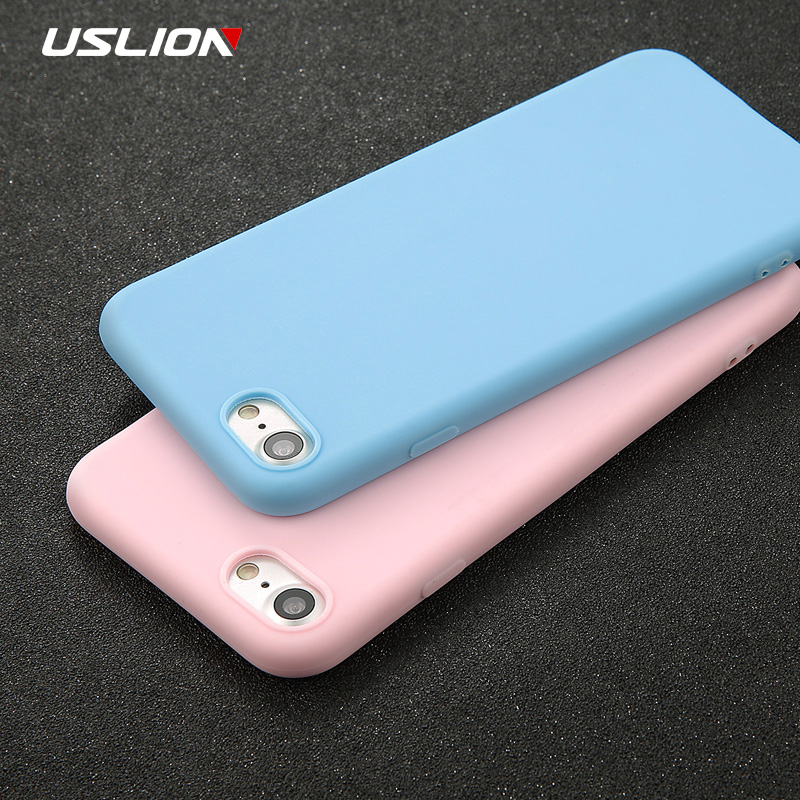 USLION Phone Case For iPhone 7 6 6s 8 X Plus 5 5s SE XR XS Max Simple Solid Color Ultrathin Soft TPU Case Candy Color Back Cover simple glossy soft silicone rubber tpu skin back cover case for iphone 5c red