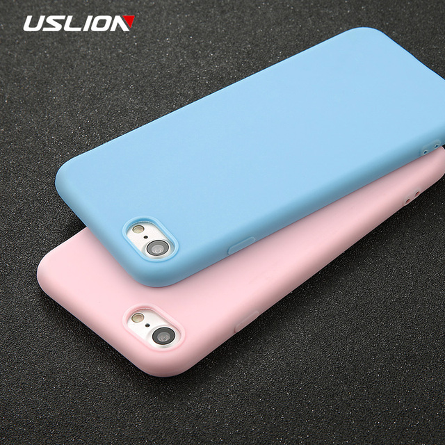 USLION Phone Case For iPhone 7 6 6s 8 X Plus 5 5s SE XR XS Max Simple Solid Color Ultrathin Soft TPU Case Candy Color Back Cover *32808065488