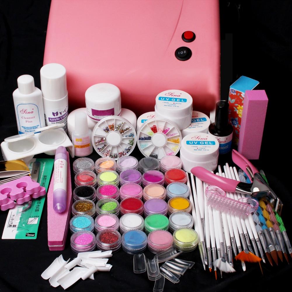 Pro Pink 36W UV lamp  UV Gel Acrylic Powders 15pcs Brush Tools Tips Nail Art Kit SET #69Pro Pink 36W UV lamp  UV Gel Acrylic Powders 15pcs Brush Tools Tips Nail Art Kit SET #69