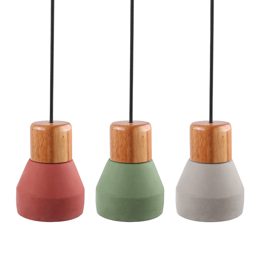 Nordic Minimalist Retro Wood Cement Pendant Light E27 Lamp