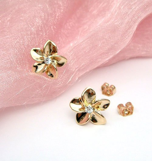 Flower 18Kt Gold Plated Stud Earrings 254ER