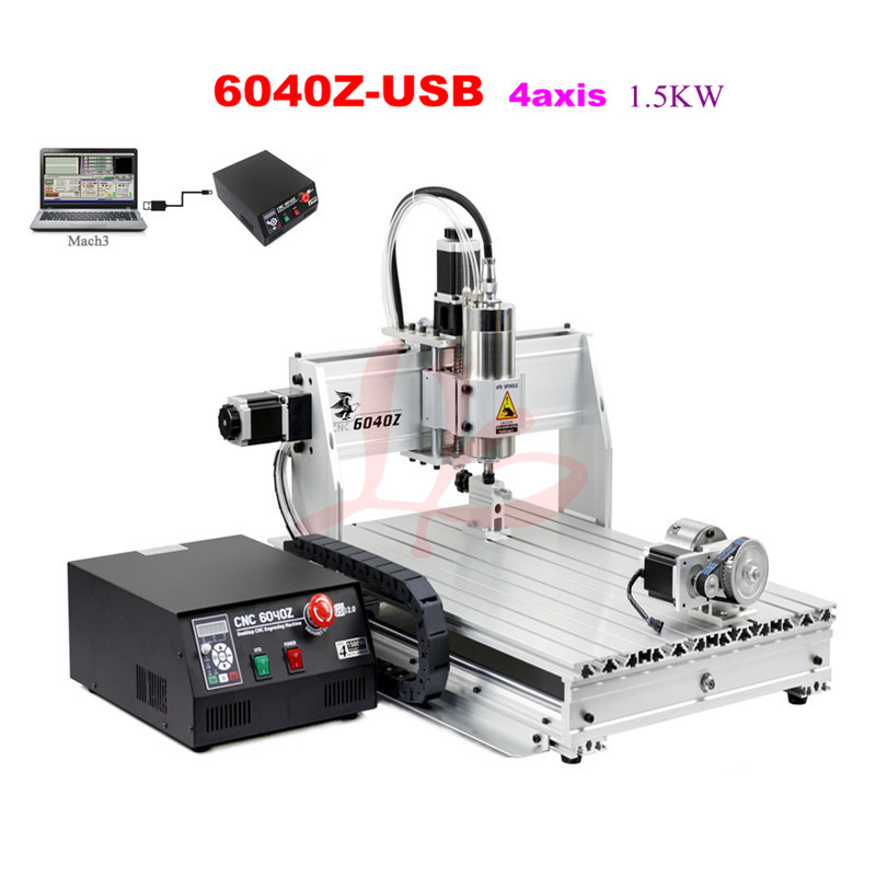 Free Shipping! 4 Axis USB CNC Router 6040 Mach3 Auto milling machine with 1.5KW VFD spindle and auto-checking tool, USB port 6040z vfd 2 2kw usb 4axis 6040 cnc milling machine mini cnc router with usb port russia free tax