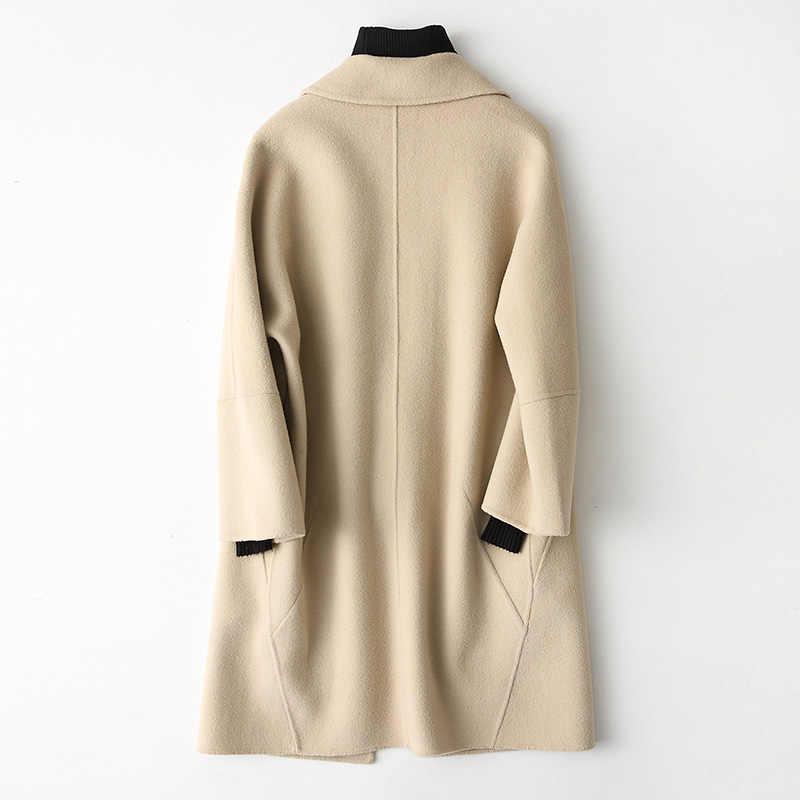 AYUNSUE 2019 весеннее Новое двустороннее шерстяное пальто женские шерстяные пальто повседневные зимние женские куртки тонкая средняя Длинная Верхняя одежда 88102