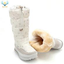 Śniegowce damskie 2020 zimowe buty wysokie pluszowe ciepłe buty Plus rozmiar 35 do dużych 42 łatwe noszenie dziewczyna białe buty zip kobiece gorące buty tanie tanio BUFFIE CN (pochodzenie) NYLON Podkolanówki zipper Drukuj M0767 Dla dorosłych Mieszkanie z Buty śniegu Okrągły nosek