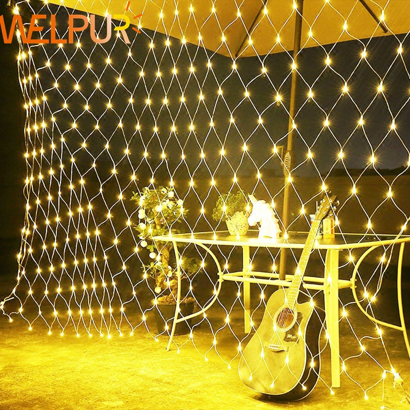 Net LED String Lights 8Modes 220V 1 5x1 5m 3X2M 4 2X1 6M Festival Christmas Decoration New Year Wedding Party Waterproof