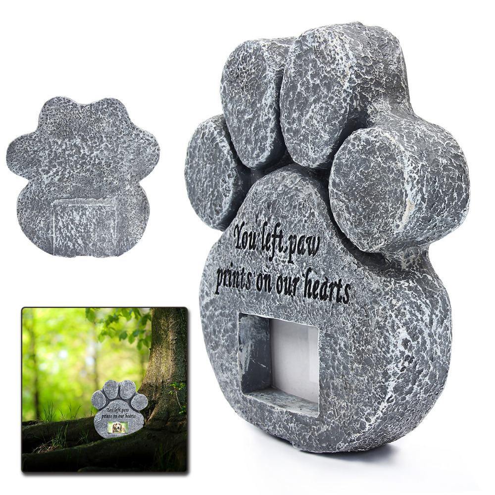 Paw Print Pet Memorial Stone With Photo Frame Loss Of Pet Gift Dog or Cat Grave Pet Supplies and Pet Accessories HG601673 in Houses Kennels Pens from Home Garden