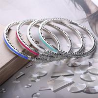 Authentic 925 Sterling Silver Bangle Multicolor Enamel Radiant Hearts With Cubic Zirconia Bracelet Bangle Fit Women