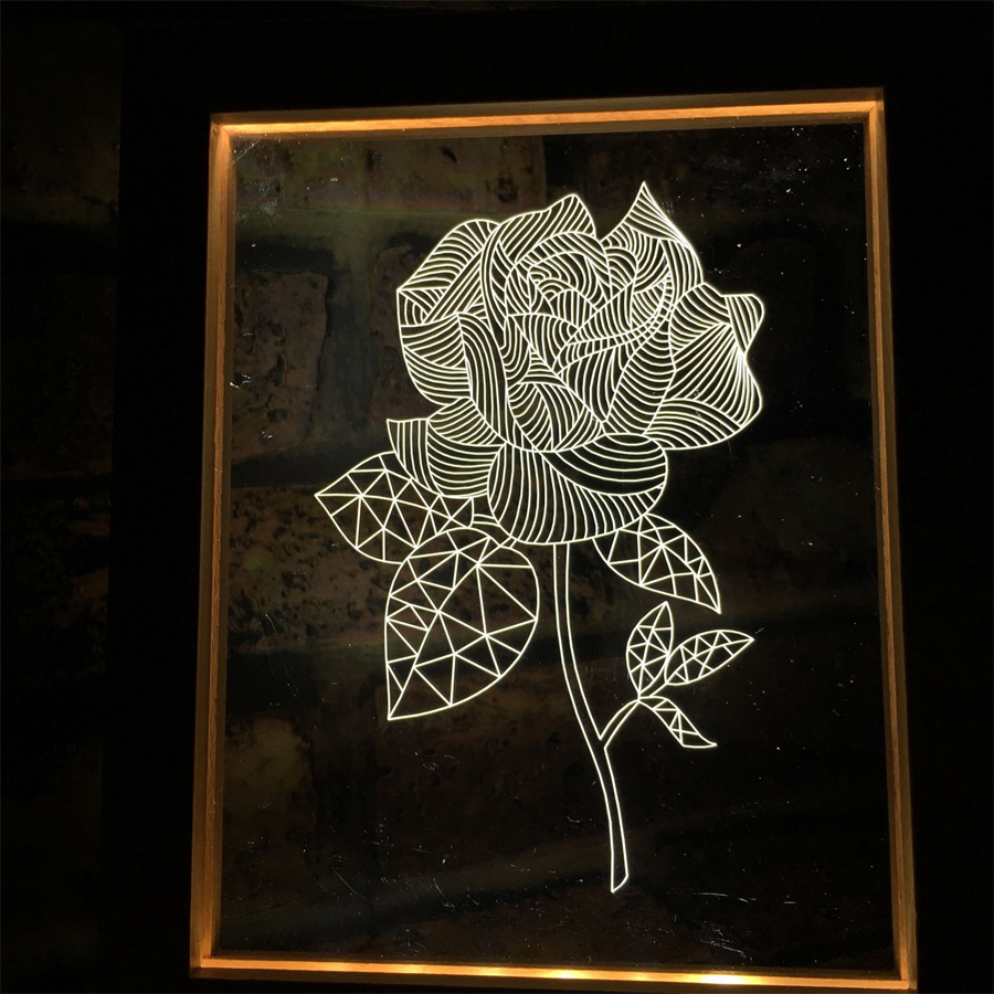 FL-731 3D Photo Frame LED Night Light Wooden Flower Decorative USB Lamp Christmas Gifts for In-Outdoor Faily Decoration Lights