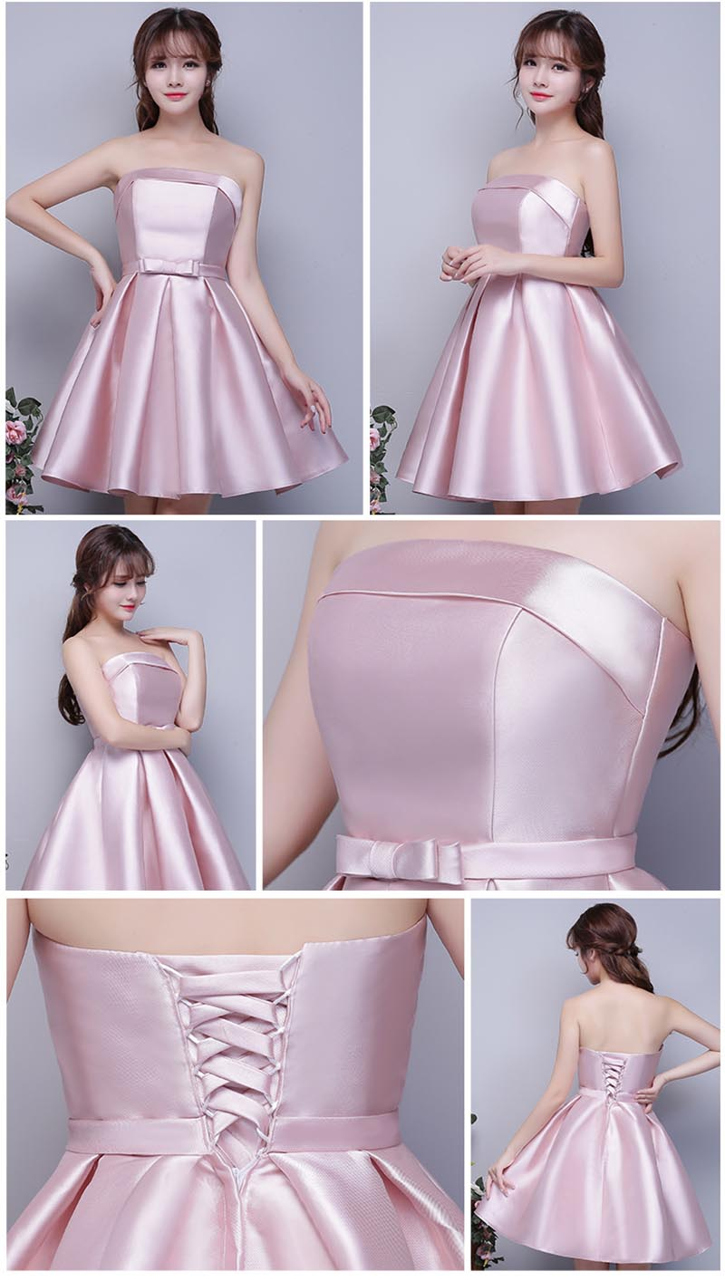 Strapless satin cheap short bridesmaid dresses under 50 pink strapless satin cheap short bridesmaid dresses under 50 pink silver champagne sky blue maid of honor dresses in bridesmaid dresses from weddings events ombrellifo Images