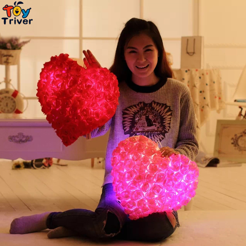 36cm Glowing Luminous Led Light Up Toys Red Rose Love Heart Stuffed Plush Toy Doll Cushion Valentine Birthday Girlfriend Gift glowing sneakers usb charging shoes lights up colorful led kids luminous sneakers glowing sneakers black led shoes for boys