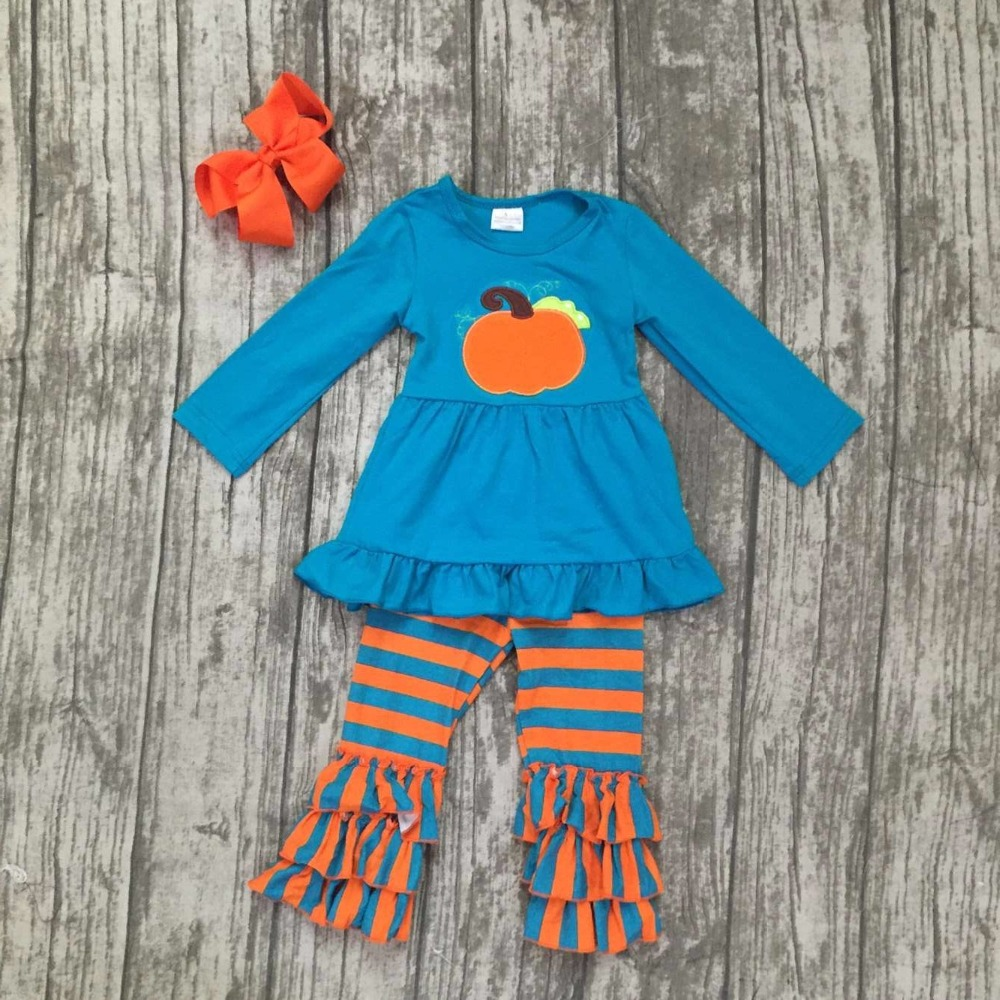baby girls outfits kids wear Fall/winter clothing children thankgiving pumpkin party outfits girls stripes ruffle pant with bows frank buytendijk dealing with dilemmas where business analytics fall short