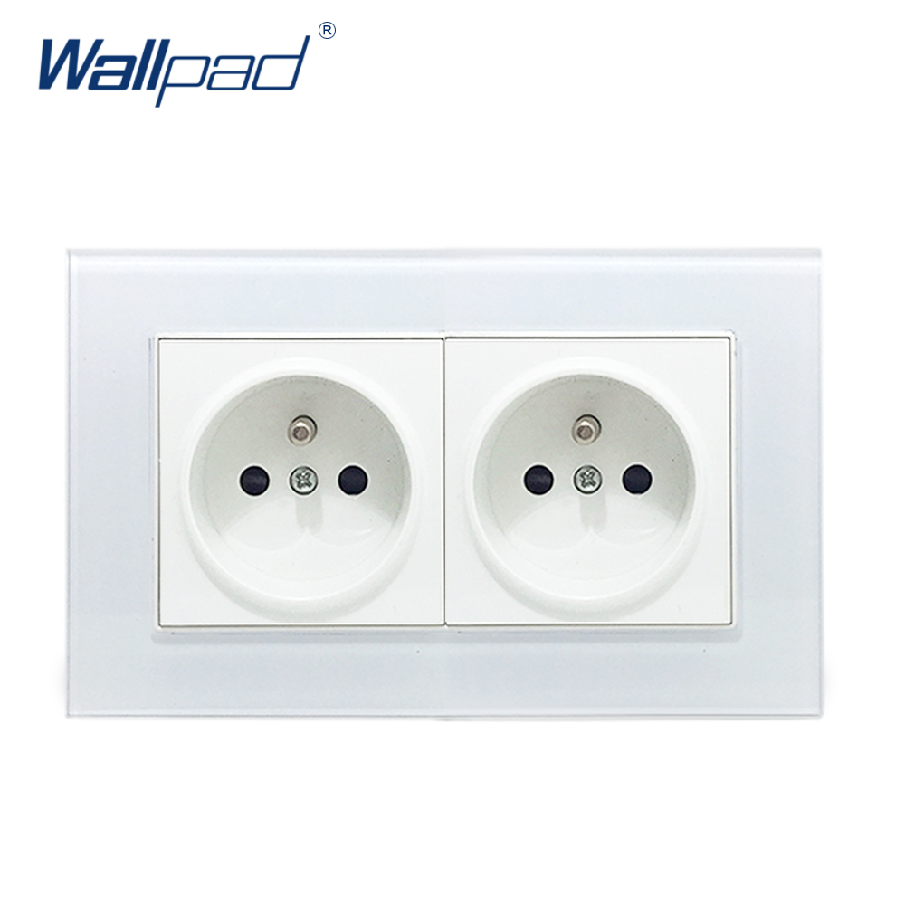 Double French Socket Wallpad Crystal Glass Frame 110V-250V 16A French Double EU French Wall Electrical Power Socket 146*86mm new arrival wallpad brown leather frame 110v 250v hotel 3 pin 16a australia new zealand air condition electric socket free ship