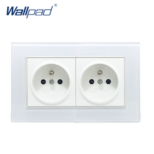 Double French Socket Wallpad Crystal Glass Frame 110V-250V 16A French Double EU French Wall Electrical Power Socket 146*86mm