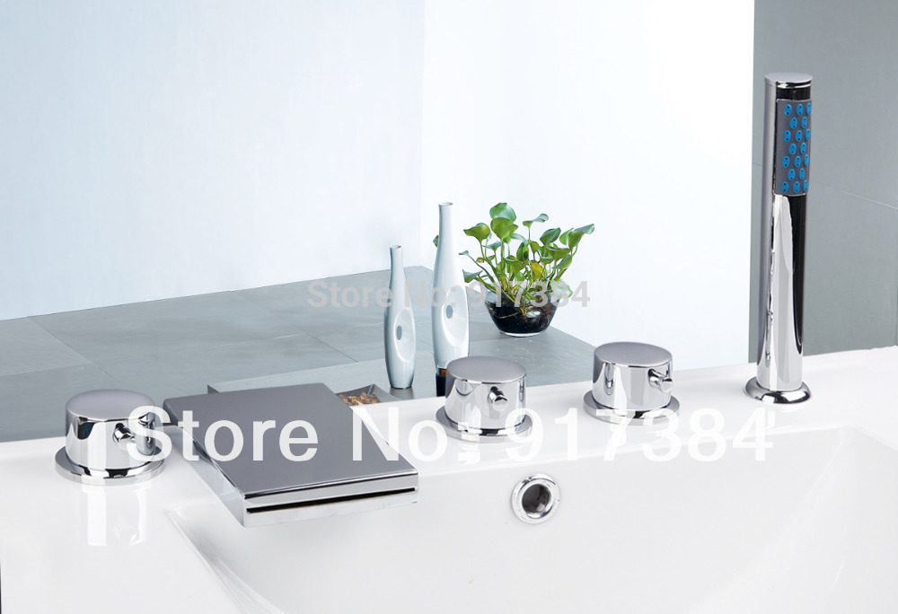 Contemporary Deck Mounted  Waterfall 5Pcs Brass Body  Bathroom Bathtub Sink Mixer Tap Chrome Finish Faucet Set LY-25CC2