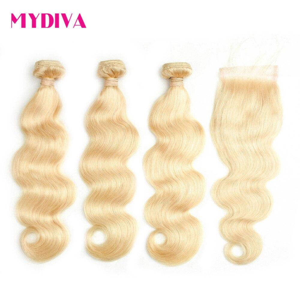 Blonde Bundles Avec Fermeture Brésilienne Corps Vague de Cheveux Humains 3 Bundles Avec Fermeture Remy 613 Cheveux Blonds Extensions 4 Pcs/Lot
