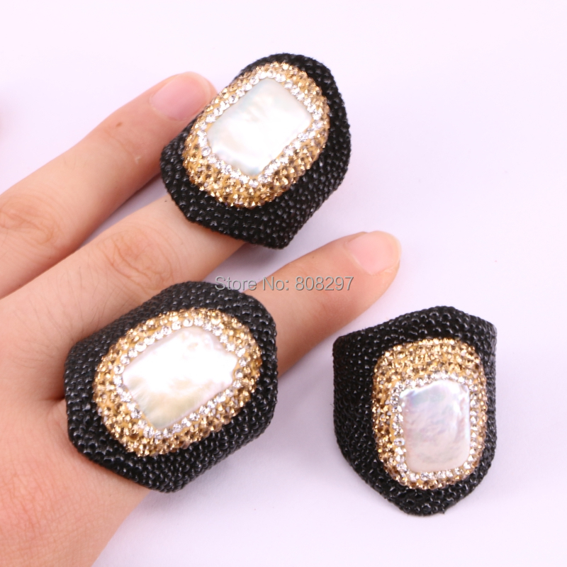 High quality 5Pcs fish-skin rings black color with pearl beads irregular shape fashion jewelry for women