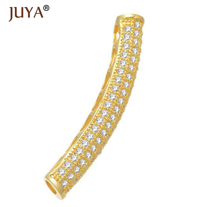 Jewelry Making Supplies Micro Pave 3A Zircon Rhinestone Copper Long Curved Tube Beads Fashion Design Spacer Tube Beads Accessory