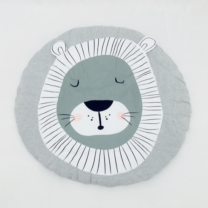 95 см детская игра коврики круглый коврик, мат хлопок Лебедь Ползания одеяло пол ковер для детской комнаты украшения INS подарки для малышей - Цвет: Lion 95cm