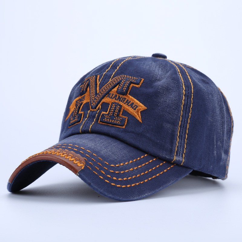 """Embroidered Letter """"M"""" Dad Hat - Blue Cap Front Angle View"""
