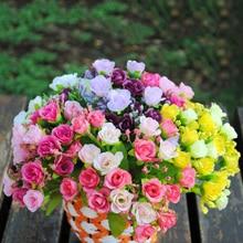 Artificial Flowers 22 Cm  Silk Rose Bouquet 7 Big Head Fake Plants Flower Home Wedding Decoration Indoor Sztuczne Kwiaty