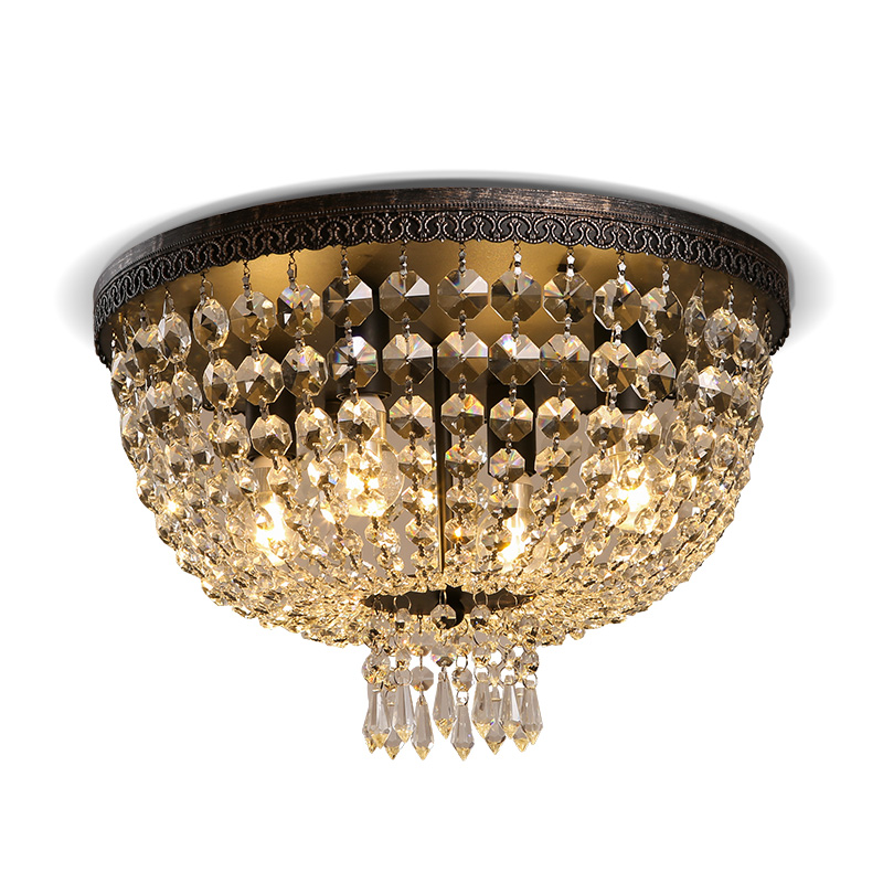 European Style Luxury Crystal LED Chandelier Circular Simple Ceiling Lamp for Living Room Dining Room Cloakroom Bedroom nordic country style simple retro octagonal crystal lamp living room dining room bedroom chandelier e14 led hanging lamp light