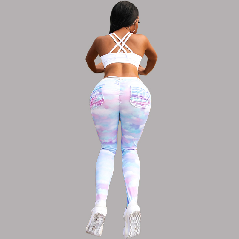2019 Slim fit rainbow Push Up Fitness   Leggings   Women Pants High Waist Sporting Leggins Workout candy color   Leggings   Pockets S-XL