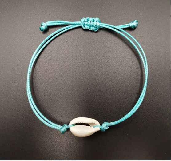 1 pc gorąca sprzedaż ręcznie naturalne muszla ręcznie dzianiny bransoletka muszle bransoletki kobiety akcesoria zroszony bransoletki Strand 7645