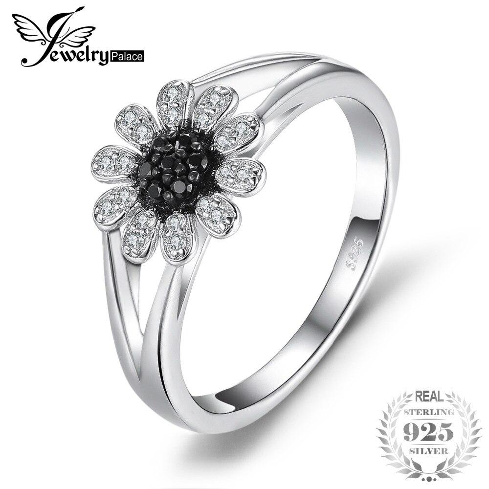 SmyckenPalace Blomma 1.11 ct Naturliga Svart Spinel Ring 925 Sterling Silver Fashion Ringar För Kvinnor Varumärke Ädelsten Fine Smycken