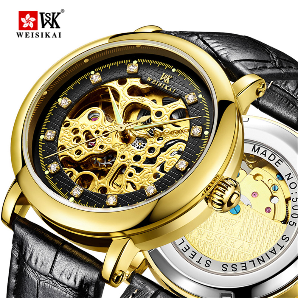 Montre homme New Famous Brand Luxury Luminous Automatic Mechanical Watch Men Crystal Hollow Leather Waterproof Gold Watches carnival luxury fashion automatic mechanical watches women leather waterproof diamond hollow luminous woman watch montre femme
