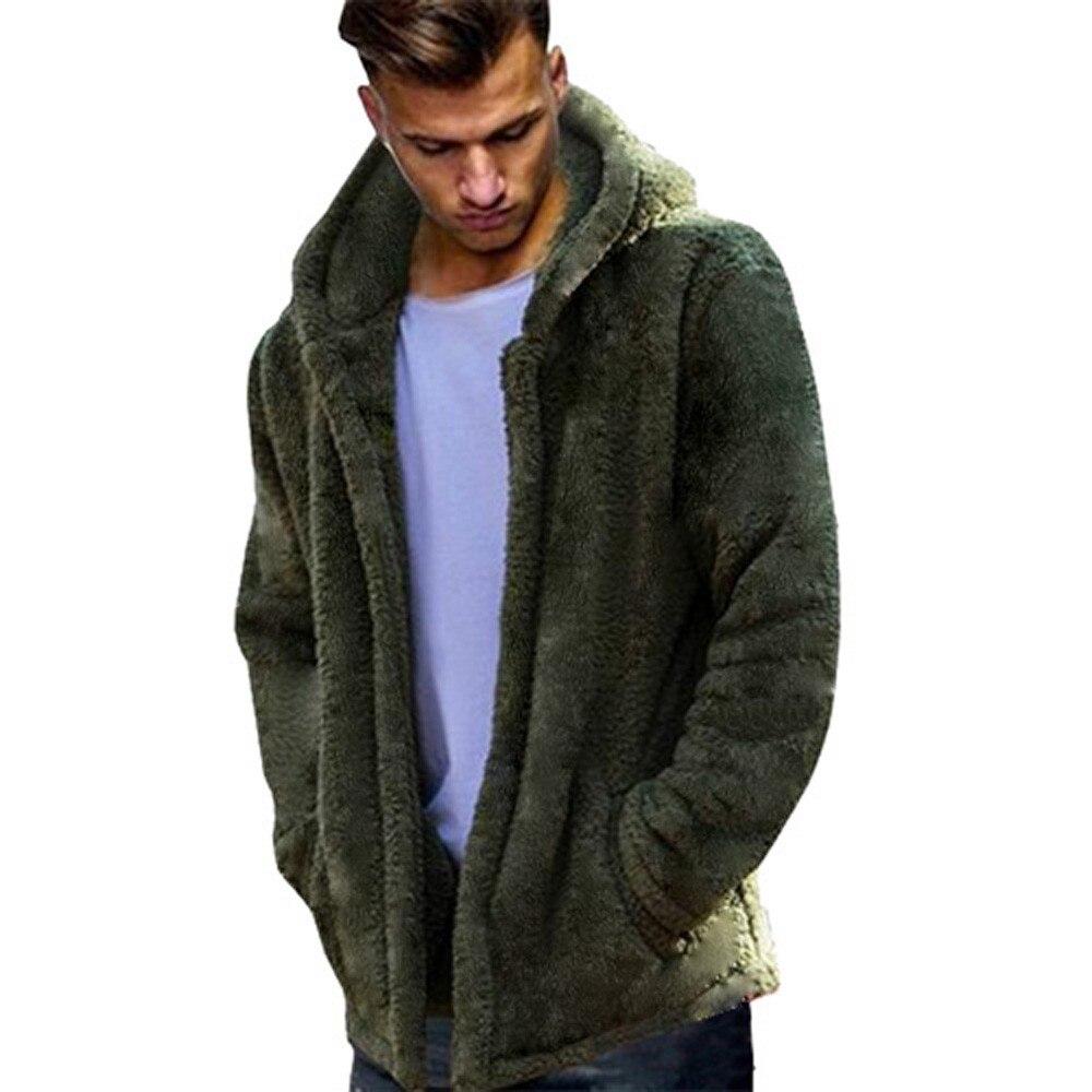 FeiTong Windbreaker Jacket Men Hip Hop Teddy Bear Autumn Winter Casual Loose Double-Sided Plush Hoodie Tops Mens Clothing Coat