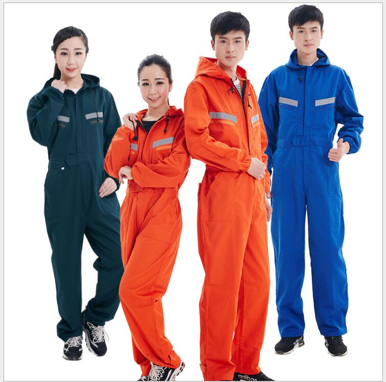 S-4XL New Men Clothing Hooded One Piece Work Wear Jumpsuit Wear-resisting Tooling Loose Long Sleeve Clothes Set Male Plus Size