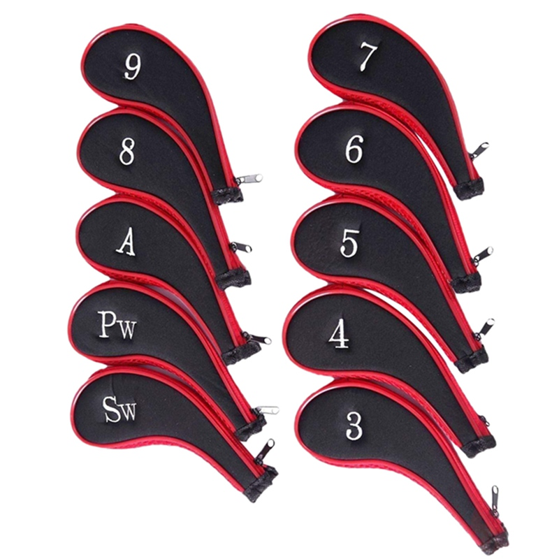 10pcs Golf Clubs Head Iron Set Putter Headcovers Head Cover Protector With Zipper Golf Outdoor Sports Club Accessories