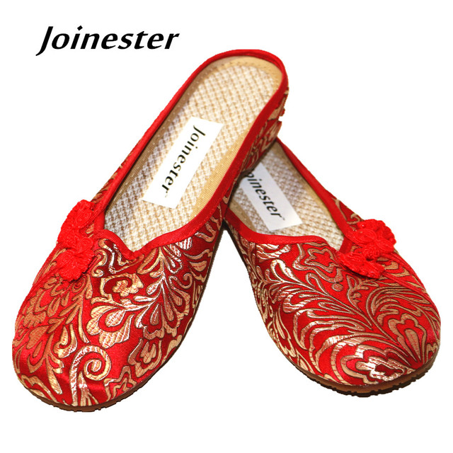 7bed21537 2019 Chinese Ethnic Style Women Slippers Traditional Button Woman Loafer  Embroider Vintage Slides Red Dance Shoe for Ladies