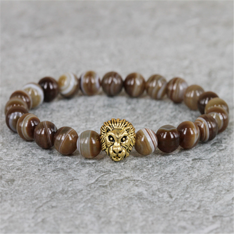 2015 Hot Sale Mens Beaded Lion Head Bracelets Retail 8mm Natural Coffee Strip Nature Stone Beads Bracelet for Mens Gift