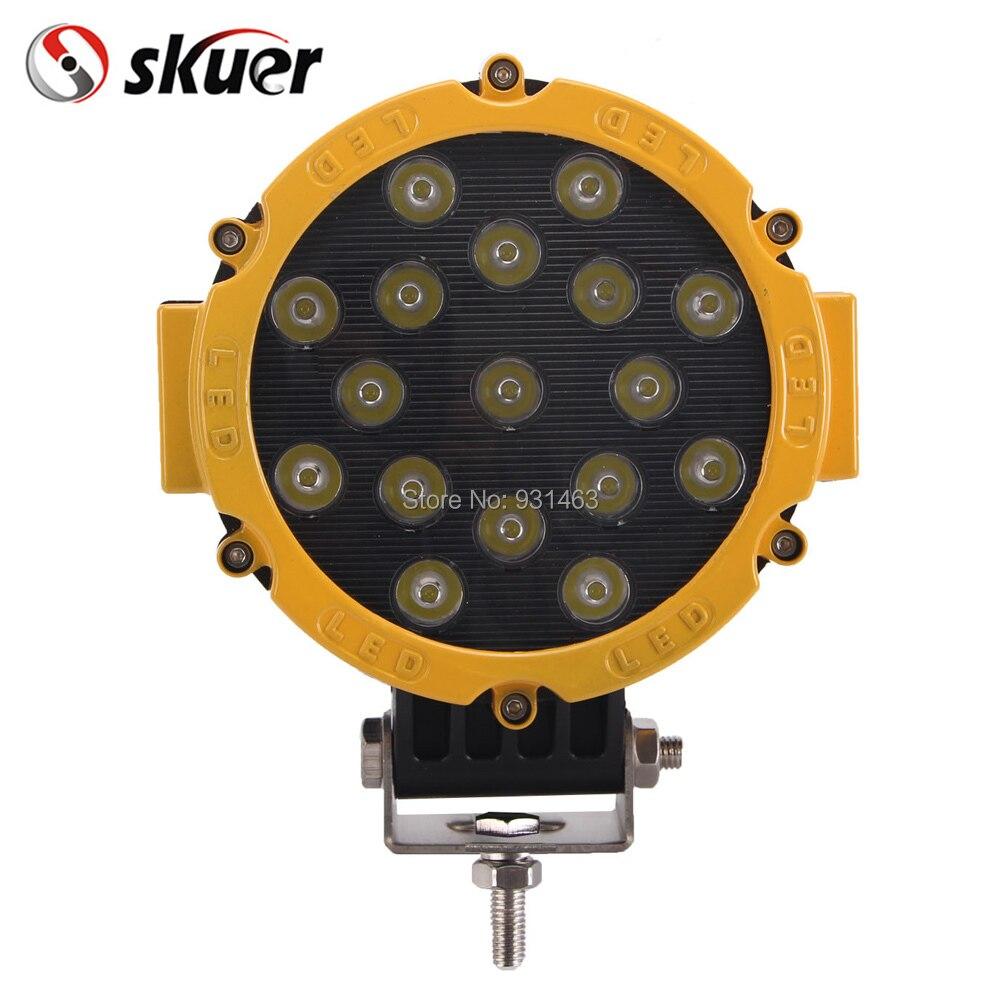 1шт 51вт светодиодный рабочий свет круглая для сверхмощный 7-дюймовый skuer 12В 24В высокой мощности 17x3W пятно луча для 4 x 4 бездорожью ATV внедорожник вождения
