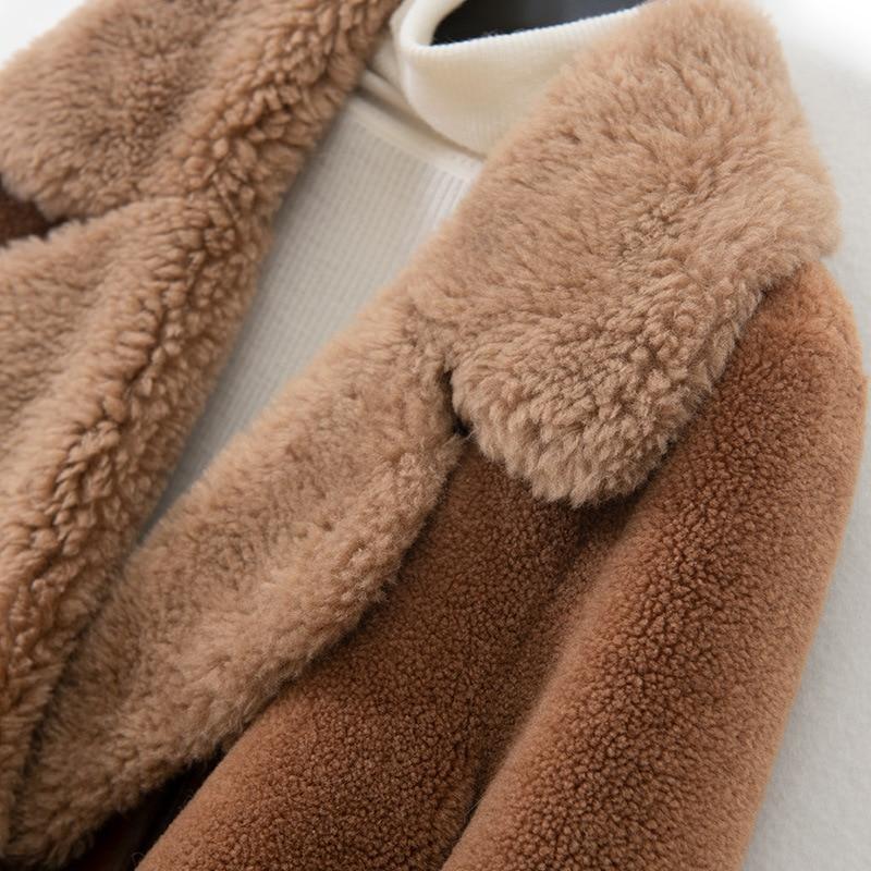 Tondus Moutons Poches De Laine Bouton Pipi Long Mode Agneau D'hiver Col Veste Herbe Femmes Fourrure Manteau An0q8