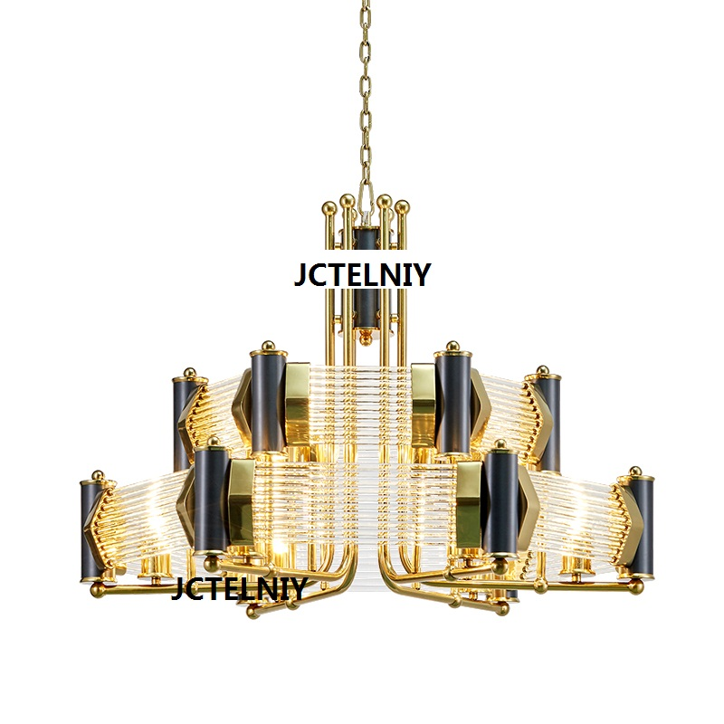 Modern crystal chandelier metal design atmosphere stainless steel living room villa club glass rod
