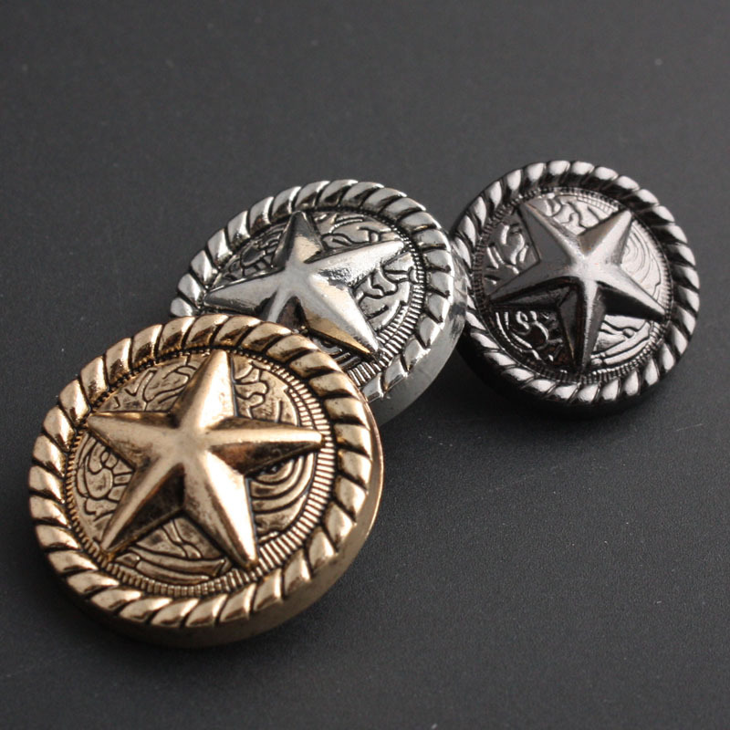 10pcs 18/23/25mm British style five-pointed star Metal buttons fashion Coat garment accessories shank buttons for crafts DIY
