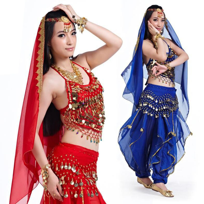2016 Zcela nový levný indický tanec nosí kostým na trénink břišní taneční sady pro ženy na prodej v 11 barvách