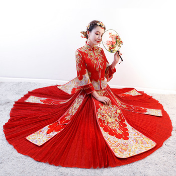 Red Elegant Oriental Bride Pleated Dress Traditional Women Embroidery Cheongsam Suit Overseas Chinese Marriage Qipao XS-3XL