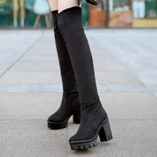 Square Heel Women Flock Boots Sexy Over The Knee Boots Platform Chunky Heel Spring Autumn Shoes Big Size 11 12 Fashion Boots