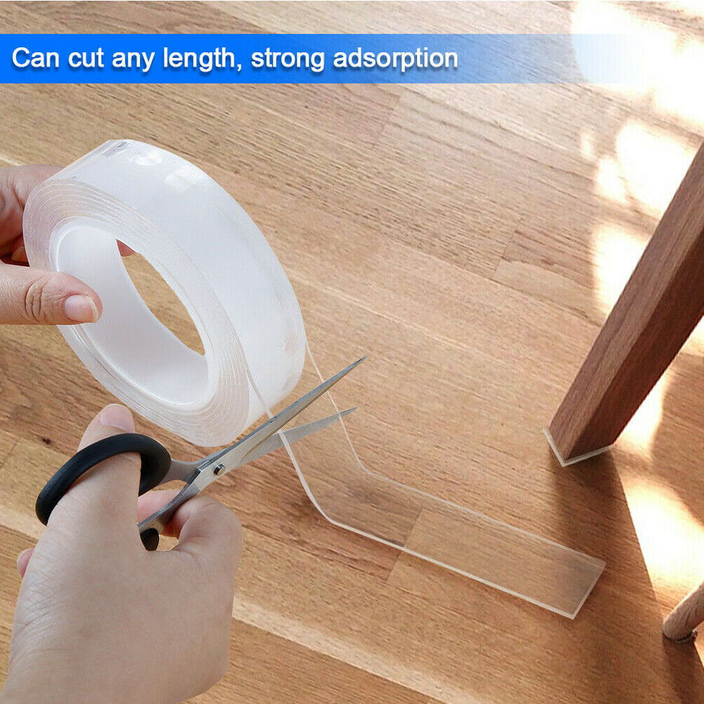 Fixing Office Adhesive Tape Traceless Craft Double-sided DIY Removable Reusable Smooth Washable Strongly Sticky Invisible Gel