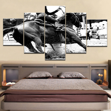 Masters Equestrian Silhouette Black White Landscape Print Poster 5 Panel Oil Picture For Home Decor Wall Art Canvas Painting