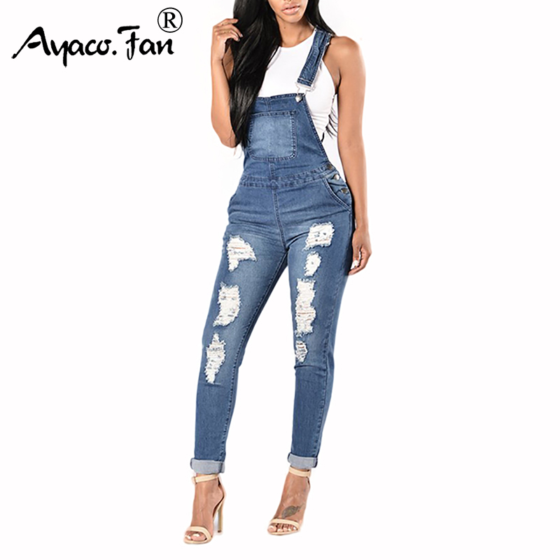 Women Slim Rompers 2019 New Spring Cowboy Overalls Cool Denim Pencil Pants Ripped Holes Lady Casual   Jeans   Sleeveless Jumpsuits