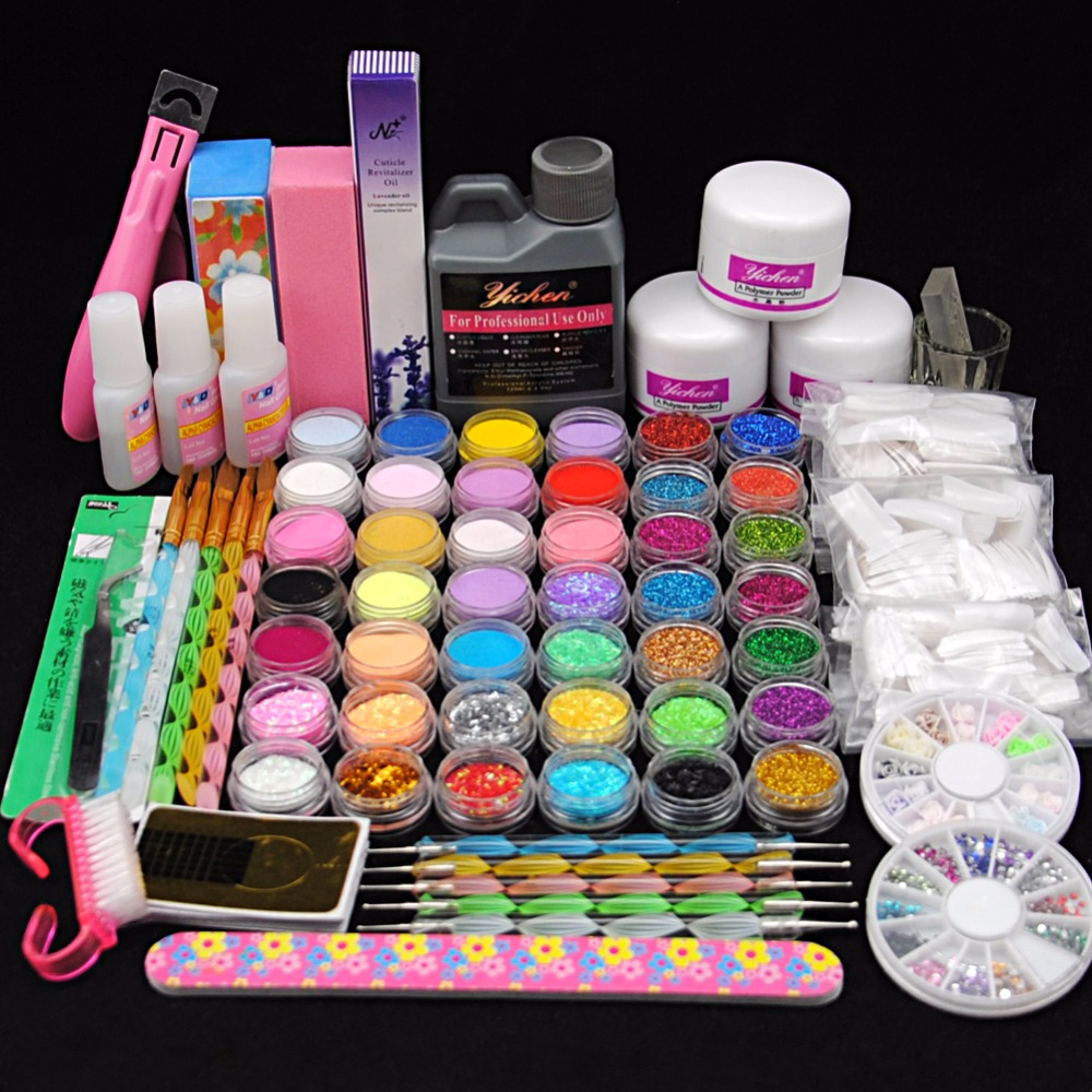 Pro Acrylic Power Manicure Nail Kit Acrylic Liquid Tips Cutter Glitter Rhinestones File Brush Manicure Nail Art Tool Set Gel Kit 42x acrylic nail art tips powder liquid brush glitter clipper primer file set