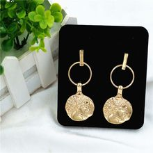 купить Vintage Portrait Coins Disc Circle Drop Hoop Earrings for Women Fashion Jewelry дешево