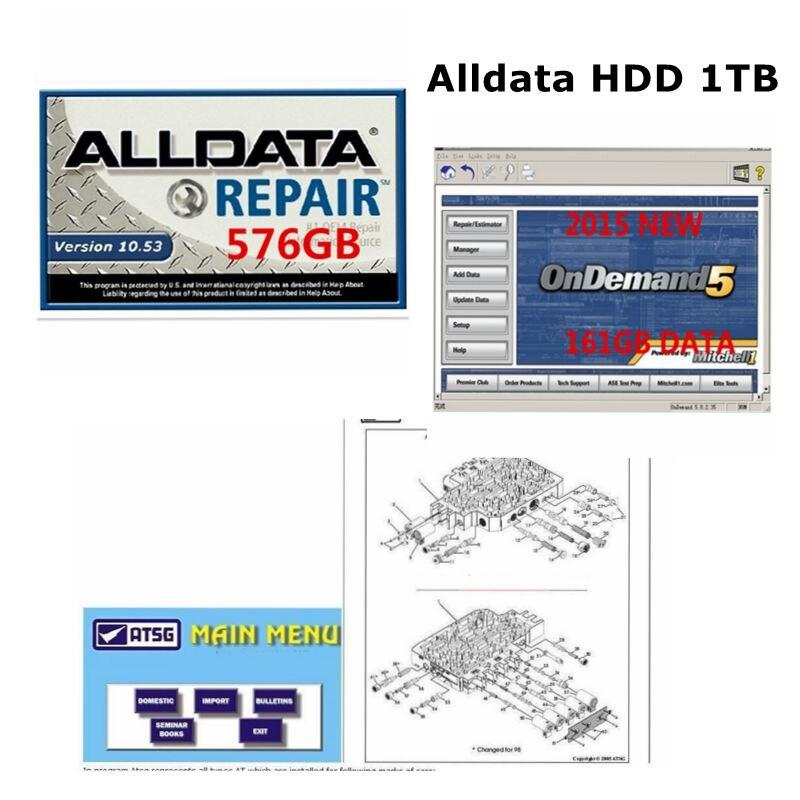 De Réparation automobile Alldata Logiciel Tous Les 10.53 + mitchell sur demande 5 de réparation de voiture logiciel 2015 avec lpga en usb 1 TB disque dur alldata hdd