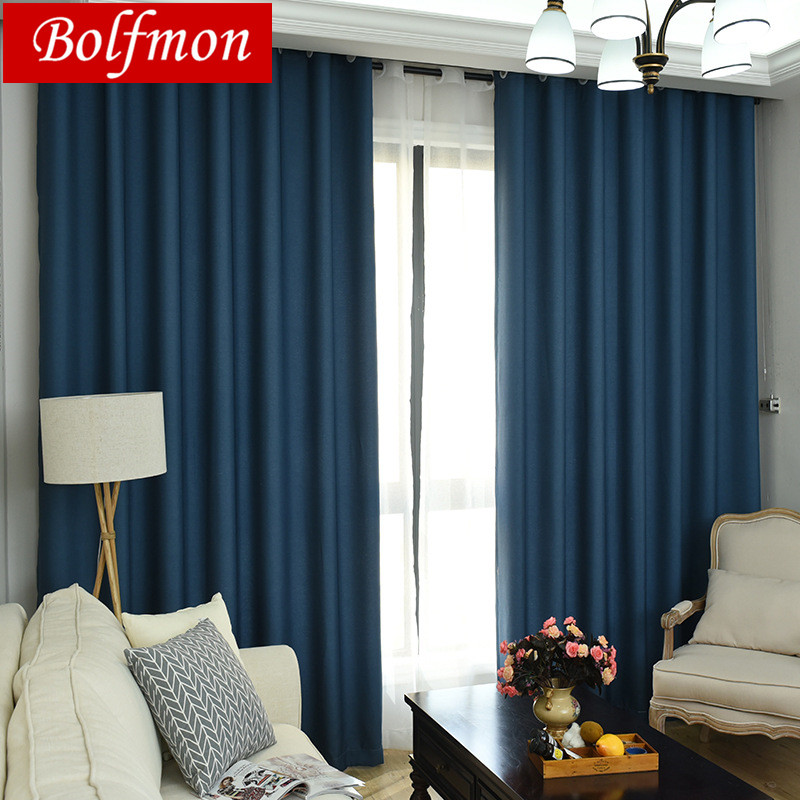 4 Colors Navy Modern Simple Solid Color Curtains For