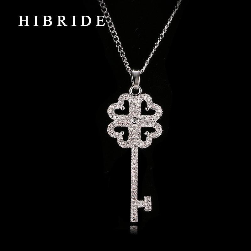 HIBRIDE JEWELRY Brand Romantic Key Shape Cubic Zirconia Pendants Necklace, Rhodium Plated Ladies Neklaces for Women Gifts, N-14